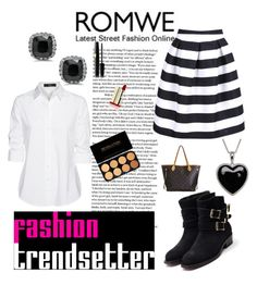 """""""romwe <<333"""" by magic001 ❤ liked on Polyvore featuring Steffen Schraut, Rupert Sanderson, Louis Vuitton, Lord & Taylor, skirt, blackandwhite and romwe"""