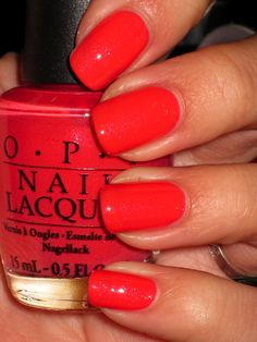 How to do nails, pretty nails, opi nail colors, opi red nail polish, na Cute Nails, Pretty Nails, Nails Opi, Opi Red Nail Polish, Red Gel Nails, Opi Nail Colors, Color Nails, Nail Polishes, Nagellack Design