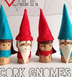 Winter felt cork gnomes - wine cork craft for kids // Téli filc parafadugó manók - kreatív ötlet gyerekeknek // Mindy - craft tutorial collection // Christmas Crafts For Kids To Make, Craft Projects For Kids, Diy Crafts For Kids, Holiday Crafts, Wine Cork Crafts, Bottle Crafts, Cork Ornaments, Alternative Christmas Tree, Upcycled Crafts