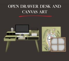 Leo Sims – Desck and Canvas art for The Sims 4 My Sims, Sims Cc, Mods Sims 4, Sims 4 City Living, Muebles Sims 4 Cc, Sims 4 Cc Packs, Desk Shelves, Bookcase, The Sims 4 Download