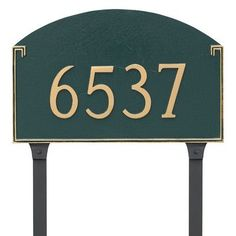 Montague Metal Products Georgetown Standard One Line Address Plaque Finish: Hunter Green/Gold