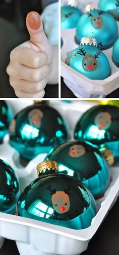 Reindeer Thumbprint Ornaments   Click for 25 DIY Christmas Crafts for Kids to Make   DIY Christmas Decorations for Kids to Make