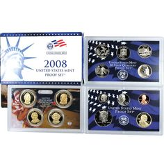 2008-S 14-Coin Proof Set including 5 State Quarters and 4 Presidential Dollars