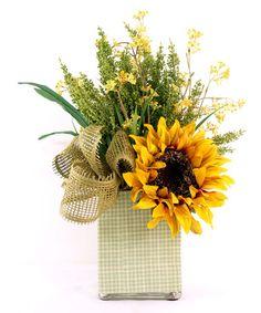 Love this Green Heather & Sunflower Decoupage Vase Arrangement on #zulily! #zulilyfinds