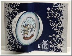 I created this for this  week's Riley and Company Christmas in July Challenge. It uses Riley and Company images, Sizzix Flip It Circle Die and Memory Box Frostyville Border