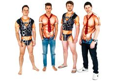Transform into a proper man, complete with rippling abs, with these super cheeky faux real T-shirts   Last Night of Freedom