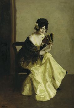 """""""Girl with Fan,"""" Robert Henri, ca. 1911, oil on canvas. """""""