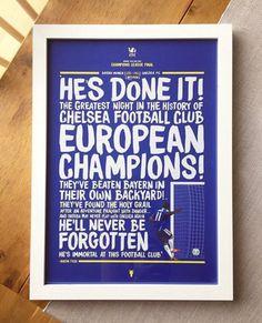 Chelsea FC 2012 Champions League final print. #CFC Chelsea News, Fc Chelsea, Chelsea Champions League, Chelsea Soccer, Eden Hazard Chelsea, Club Poster, European Cup, World Football, Frames