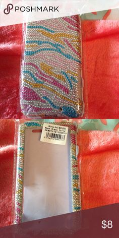 Droid Motorola razor case Cute, nwot. Multicolored with bling in zebra print. Two pieces, fits Motorola droid razor Accessories Phone Cases