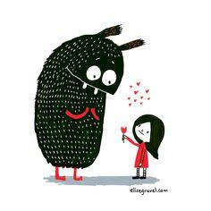 Elise Gravel illustration • monster • little girl • art • drawing • cute • red • black • simple • child • flower • love • giving • friendship • kid •