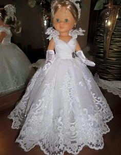 galería Ropa American Girl, American Girl Crafts, American Doll Clothes, Ag Doll Clothes, Doll Clothes Patterns, Nancy Doll, American Girl Wellie Wishers, Wedding Dress Patterns, Bride Dolls