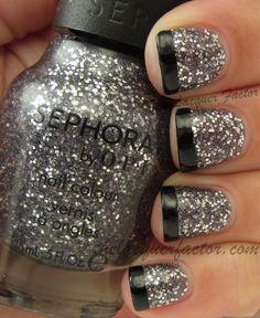 SOPI Justa' Pinch Of Glitter with OPI Black Onyx NYE nails