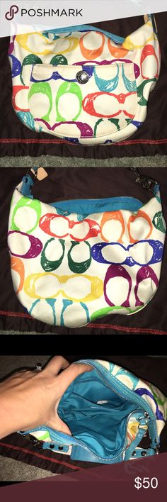 """Coach scribble small hobo barely used Guaranteed authentic coach scribble Hampton hobo. Might have been used once or twice and stored in dust bag. 15"""" L x 10"""" H x 7"""" strap. Comes from smoke free home. Dust bag included. Coach Bags Hobos"""