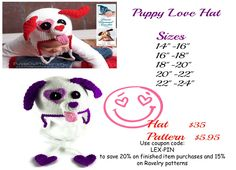 Puppy love is in the air!  http://www.ddcrochet.com/product-catalog.php#!/Puppy-Love-Earflap-Hat/p/10073737/category=2347790 http://www.ravelry.com/patterns/library/051---puppy-love-earflap-beanie #crochet #crochetdesigner #desertdiamondcrochet #puppylove #puppy #love #valentinesday #valentine