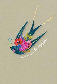 Floral bird - Happy Anniversary Card #greetingcards #printable #diy #Sympathy Birthday Greetings, Birthday Wishes, Birthday Drinks, Friends Valentines Day, Happy Anniversary Cards, Alpacas, Creative Photos, Sympathy Cards, Love Cards