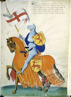 Pale Blue Knight and Orange Horse: Capodilista Codex Manuscript Illumination Biblioteca Civica, Padua