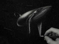 Charcoal Drawing Ideas Charcoal Drawing Tips - Whale in Space by Casey Neal on Strathmore Artagain Black Paper Charcoal Art, White Charcoal, Charcoal Drawings, Love Drawings, Easy Drawings, Kawaii Drawings, Pencil Drawings, Drawing Techniques, Drawing Tips