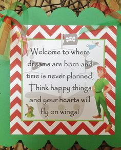 Peter Pan Inspired Birthday Door Sign - Red & Green - Party Packs Available by EmeraldCityPaperie on Etsy https://www.etsy.com/listing/130547539/peter-pan-inspired-birthday-door-sign