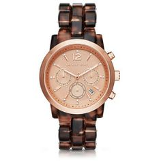 Michael Kors Audrina Faux-Tortoise and Rose Gold-Tone Watch