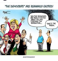 Boy, the democrats are really excited about Hillary clinching the nomination....That's the media.