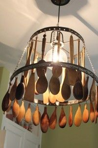 Recycle wooden spoons and make this great light for kitchen or eating area