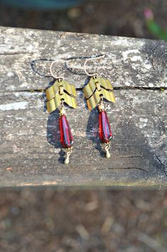 Brass Chevron Chain Earrings with Red by practicallyfrivolous
