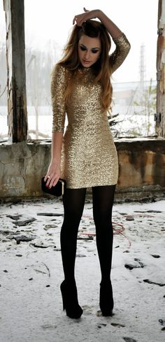 Beautiful golden sequin dress and black tights for the autumn I really like sequins, I can't help myself!
