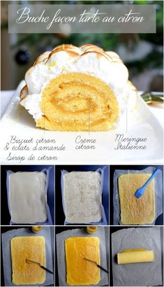 Lemon meringue pie rolled Yule log - Sites new Rum Fruit Cake, Chocolate Fruit Cake, Fresh Fruit Cake, Chocolate Recipes, Fruit Cakes, Chocolate Art, Mini Cheesecake Recipes, Tart Recipes, Easy Cake Recipes