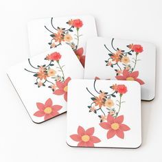 'I love Flowers' Coasters by Table Coasters, Love Flowers, Coaster Set, Pattern Design, Floral Design, My Arts, Vibrant, Tropical, Art Prints