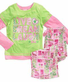 PJ & Me Kids Pajamas, Girls or Little Girls Live Dream Laugh 2-Piece PJs