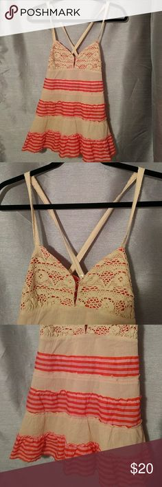 Free People Crossback Tank Adorable Free People Crossback Tank With Adjustable Buttoned Straps, Crochet Trim Along The Top & A Zipper Closure On The Side.  Size 4 Excellent Pre-Loved Condition ❤️ Free People Tops