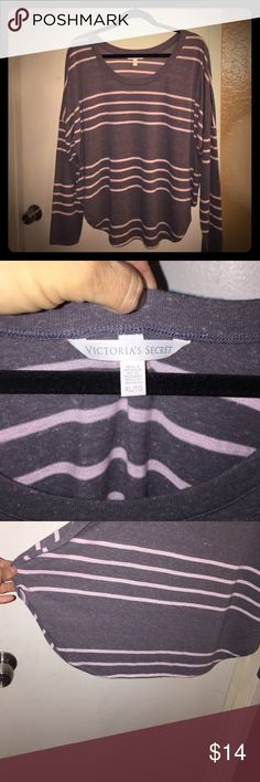 Victoria's Secret LS Tee Sz XL 🎀EUC🎀 victoria's secret soft charcoal gray with pink stripes heathered fabric drop shoulder tee, size XL Victoria's Secret Tops Tees - Long Sleeve