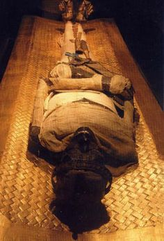 Mummy of Pharaoh ? in Royal Mummy Room at the Egyptian Museum. This is a scanned postcard. No picture taking is allowed in the Museum.