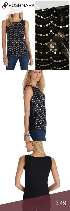 """🆕 WHBM sequin boxy tank Shimmering sequins drape across the front of this sleeveless tee in scalloped waves. Stitched stars add a touch of charm while the boxy shape exudes laidback elegance day or night. Boxy fit. Pop over ease. Sequin embellishments and scalloped embroidery at front . Fully lined. 100% polyester. Hand wash, cold. Imported. Underarm across 18"""". Length 26"""". Brand new with tag. Smoke free and pet free. White House Black Market Tops Tank Tops"""