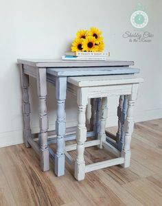 Shabby Chic, upcycled, painted nest of tables in Annie Sloan chalk paint Paloma, Louise Blu Shabby Chic Dining Chairs, Shabby Chic Kitchen, Shabby Chic Furniture, Shabby Chic Nest Of Tables, Shabby Chic Lounge, Vintage Furniture, Blue Shabby Chic, Shabby Chic Decor, Shabby Chic Bedrooms