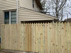 It has been a very productive winter here at Tri-Boro Fence.Skip & Ray installed this beautiful pressure treated wood privacy fence with french gothic topped pickets Wood Picket Fence, Wood Privacy Fence, Front Fence, Gothic Tops, Fence Styles, Boro, Backyard Ideas, Outdoors, French