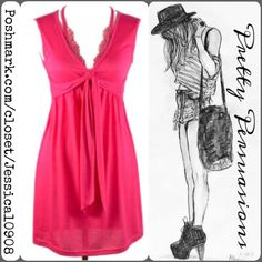 NWT Boutique Pink Lace Trim Sleeveless Dress NWT Boutique Pink Lace Trim Sleeveless Dress  features:  • soft material w/stretch  • lace detail at the bust  • lace turns into a spaghetti strap giving the appearance of a halter top • empire waist w/ties under the bust  This dress is very pretty & so easy to wear! Pairs with anything from wedges to sandals to cardigans & jackets!   Size small. Has stretch & will fit a small/medium too.  Measurements available upon request.   Bundle discounts…