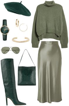 Discover outfit ideas for Go Green: St. Pats Day made with the shoplook outfit maker. How to wear ideas for Frenzlauer crocodile effect tote and ALLSAINTS Large Hex Cuff Winter Fashion Outfits, Look Fashion, Fall Outfits, Autumn Fashion, Fashion Sets, Mode Ootd, Mode Hijab, Looks Chic, Looks Style