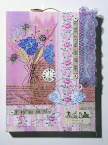 Textiles, mixed media, vintage treasures, machine & hand stitch