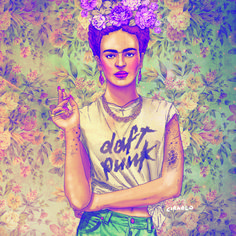 Título: Frida Kahlo Auto: Fab Ciraolo Descripción: Técnica de ilustración. Mensaje.