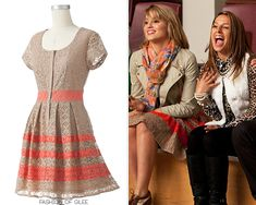 LOOK FOR LESS: With it's striped taupe and coral lace combo, this knockoff of Quinn's 'Sexy and I Know It' dress by The Hills star turned fashion maven, Lauren Conrad, is romantic and flirty, with a. Quinn Fabray, Dress Outfits, Cool Outfits, Jean Outfits, Vera Wang Wedding Gowns, Glee Fashion, Pink Hair Dye, Coral Lace, Bcbgmaxazria Dresses