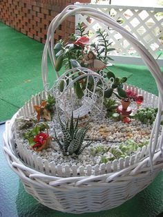 My MiNiaTuRe SuCCuLENT FAiRY GaRDeN - You are in the right place about Miniature Garden accessories Here we offer you the most beautiful pictures about the Miniatu Garden Basket, Dish Garden, Mini Fairy Garden, Fairy Garden Houses, Garden Farm, Fairy Garden Furniture, Deco Nature, Fairy Crafts, Little Gardens