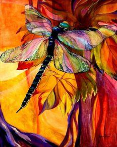 "Dragonfly ""Vineyard Fantasy"" - acrylic by ©Karen Dukes"