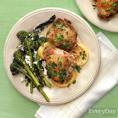 Braised Chicken Thighs & Roast Broccolini with Feta #30MinuteMeals