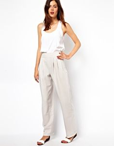 Image 1 ofASOS Trousers In High Waist and Loose Fit