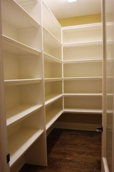 Simple walk-in pantry shelving I like the edges of the shelves. & Gelman Simple walk-in pantry shelving I like the edges of the shelves. Diy Closet Shelves, Pantry Shelving, Pantry Storage, Closet Storage, Food Storage, Pantry Organization, Storage Room, Storage Ideas, Pantry Laundry Room