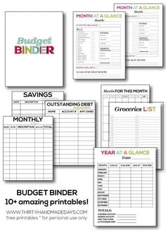10 Free Printables for creating a Budget Binder personal finance resources, personal finance tips #PF