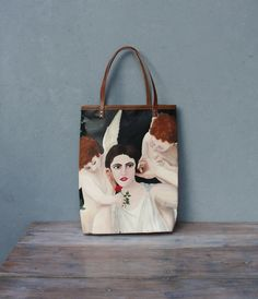 Oil Painting Bag Large Leather Tote - Real Oil Painting Woman with Angels with Leather Details