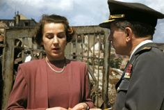 Traudl Junge being interviewed on the site of Hitler's bunker several years later