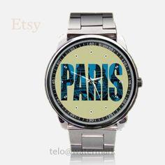 Paris Letter Eiffel Tower Sport Metal Watch by telopolo on Etsy, $17.50